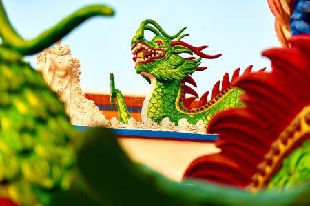 Architecture Of Asia. Oriental Dragon Sculpture In...