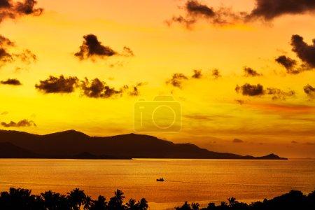 Nature Landscape.  Tropical Orange Sunset Over Sea. Travel Thail