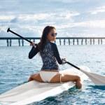 Постер, плакат: Hobby Girl Paddling On Surfboard Summer Travel Recreational W