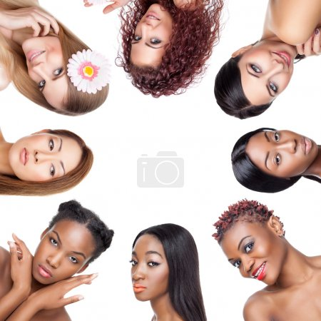 Photo for Collage of multiple beauty portaits of women with various skin tones and hair - Royalty Free Image
