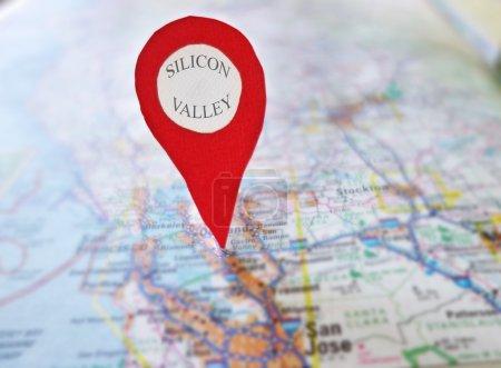 Foto de Localizador de rojo en Silicon Valley - San Francisco mapa - Imagen libre de derechos