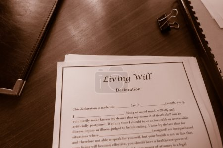 Living Will end of life document on a desk...