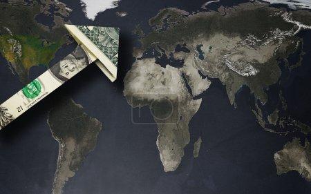 Photo pour Up arrow dollar over a world map -- strong dollar or globalization concept - image libre de droit