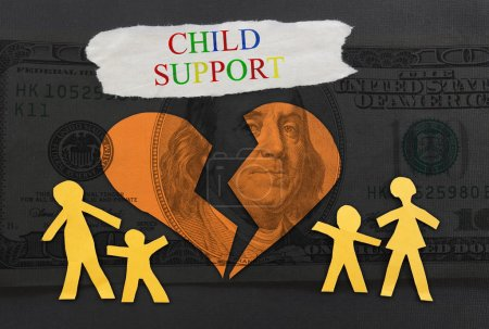 Photo for Child Support text with paper family and broken heart over money background - Royalty Free Image
