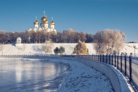 Assumption Cathedral in Yaroslavl winter on waterf...