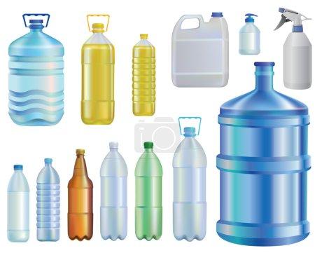 Illustration pour Water.set de différentes bouteilles. Huile.Une capacité liquide.savon.bière . - image libre de droit