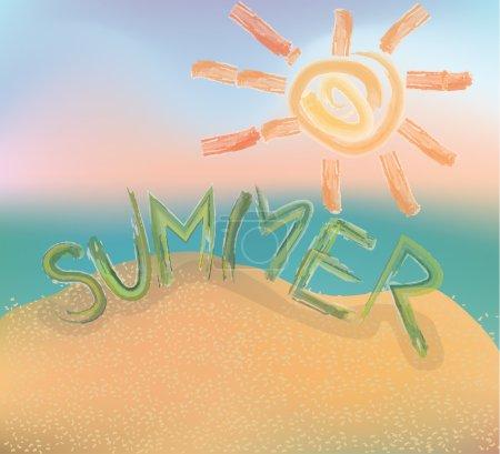 Word summer. sun. Painted paint. Beach.