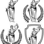 Lady justice . Greek goddess Themis . Equality .  fair trial . Law . Laurel wreath .defense shield .