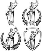 lady justice.  Themis . Equality .  fair trial . Law . Laurel wreath .defense shield .