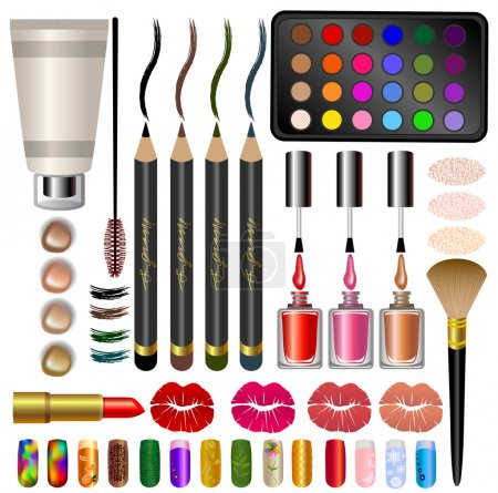 set samples, different cosmetics and makeup.