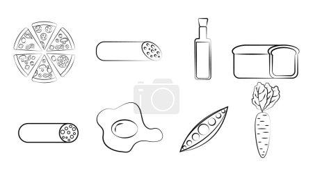 Illustration pour Ensemble noir et blanc de huit icônes de délicieux plats et collations pour un café bar restaurant sur fond blanc : pizza, saucisse, huile d'olive, pain, oeuf, pois, carottes. - image libre de droit