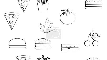 Illustration pour Modèle sans fin noir et blanc d'aliments et de collations icônes ensemble pour café bar restaurant : frites, hamburger, pistaches, pizza, sandwich, tomate, cerise. Le contexte. - image libre de droit