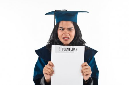 Female student unhappy with her student loan...