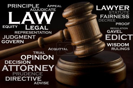 A wooden judge's gavel and words that describe the...