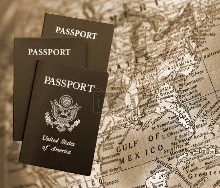 American Passports over world map