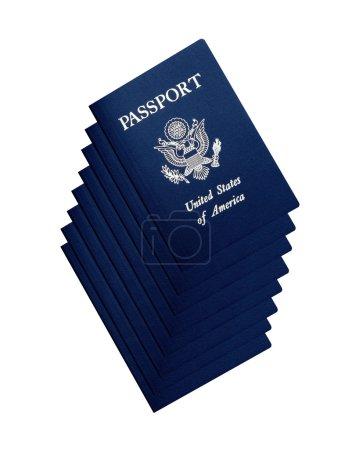 Photo pour Passeports américains isolés sur fond blanc - image libre de droit
