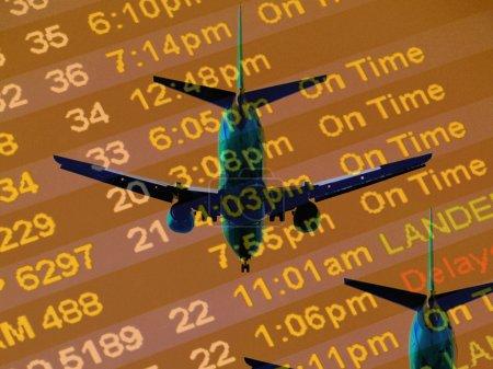 Photo pour Heure d'arrivée à un comptoir de ligne aérienne et des avions - image libre de droit