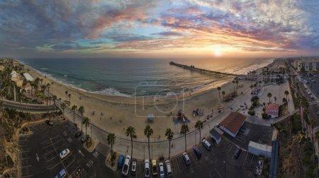 Oceanside Sunset - aerial panoramic