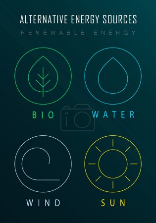 Ecological infographics with outline renewable ene...