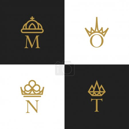 Letters with crowns ornamental golden logos. Vecto...