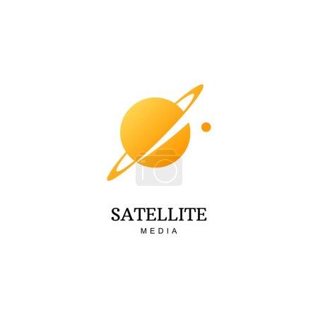 Illustration for Vector orange planet logo. Satellite design template - Royalty Free Image