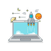 Raketu ikona s notebookem