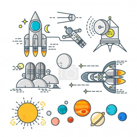 Illustration for Space line art icons set - Royalty Free Image