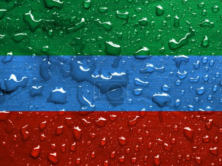 flag of Dagestan with rain drops