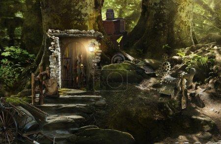 Photo pour Fabuleuse, magique, mystérieuse forêt où vivent des elfes, des gnomes et d'autres bêtes fabuleuses - image libre de droit