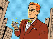 Ironic Illustration of a Retro 1940s or 1950s Man With Glasses Bow Tie and Modern Smartphone