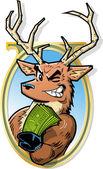 Joke Illustration of Big Bucks Smiling Buck With Roll of Money