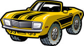 Cool Retro Yellow Convertible Muscle Car With Black Stripes