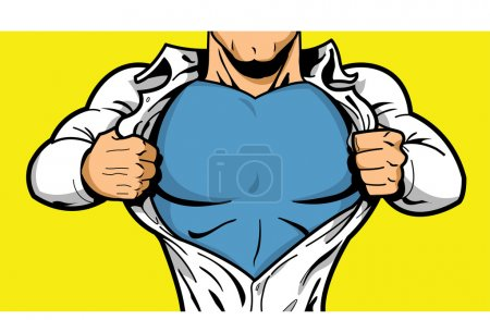Comic book superhero opening shirt to reveal costume underneath with Your Logo on his chest!