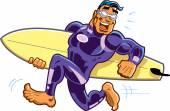 Happy Running Barefoot Surfer Dude