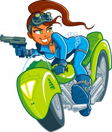 Illustration for Sexy Action Hero Spy Girl with Gun in Motorcycle Car Chase - Royalty Free Image