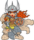 Princess With Battle Axe and Shield