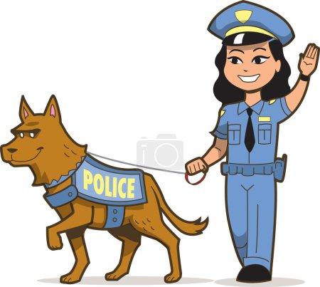 Illustration pour K-9 Chien de police et policière asiatique - image libre de droit