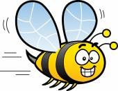 Happy Smiling Cartoon Bee Flying