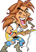 Cool rock star with microphone playing guitar and singing