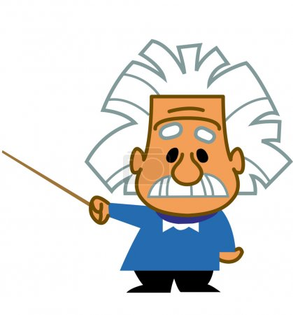Albert Einstein cartoon scientist genius professor teacher holding a pointer