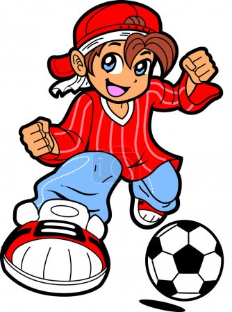 Illustration for Happy Young Man Boy Soccer Player in Anime Manga Cartoon Style - Royalty Free Image