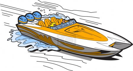 Illustration for Illustration of a Fast Speedboat on the Water - Royalty Free Image