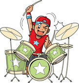 Fun anime and manga style cartoon drummer rocks out when he's playing drums