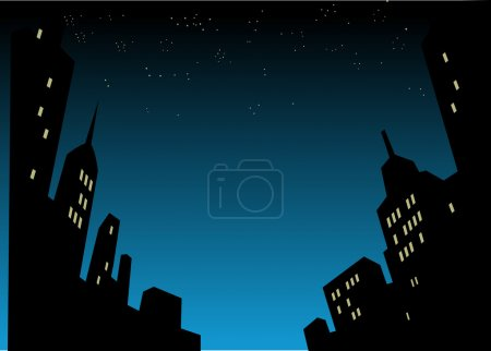 Graphic Style Cartoon Night City Skyline Background