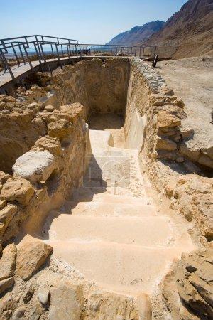Photo pour L'un des réservoirs d'eau à Qumran en Israël - image libre de droit