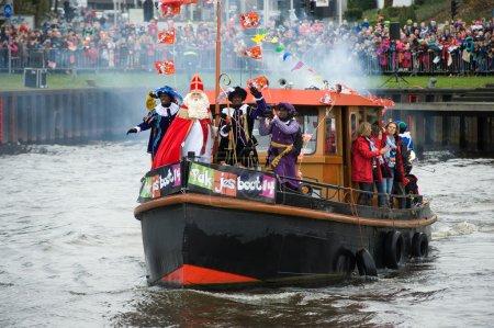 Sinterklaas arriving on boat