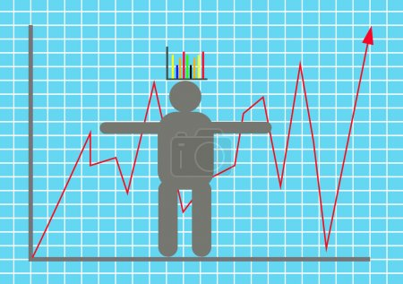 Illustration for Vector illustration display stock market goes up and down with model businessman - Royalty Free Image