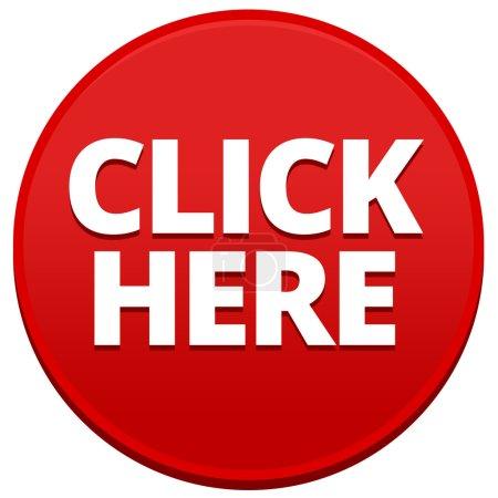 Photo pour Big red cliquez ici 3d bouton isolé sur fond blanc - image libre de droit