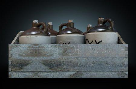 Photo pour Une 3d render d'une collection de cinq bidons de moonshine vintage dans une caisse en bois portent sur un fond de studio noir isolé - image libre de droit