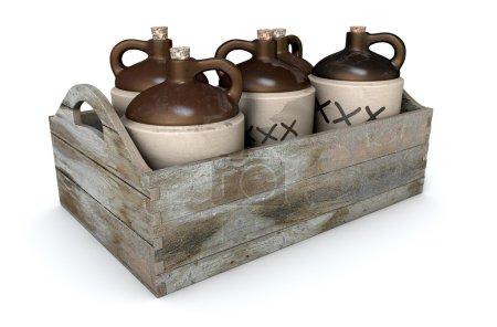 Photo pour Une 3d render d'une collection de cinq bidons de moonshine vintage dans une caisse en bois portent sur un fond de studio blanc isolé - image libre de droit